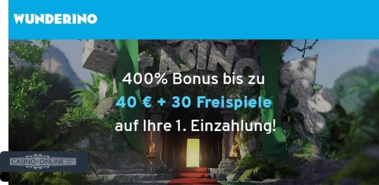 400% Bonus im Wunderino Casino